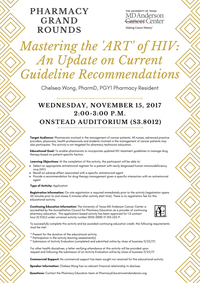 Mastering the 'ART' of HIV: An Update on Current Guideline