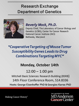Department of Genetics Research Exchange Seminar Speaker, Beverly Mock, Ph.D.