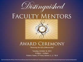 2013 Distinguished Faculty Mentor Awards Ceremony