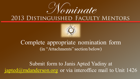 NOMINATIONS DUE:  Distinguished Clinical and Research Faculty Mentors