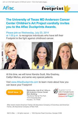 Aflac Duckprints Award benefiting Children's Art Project