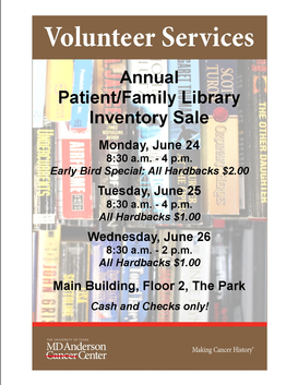Annual Patient/Family Library Inventory Reduction Sale
