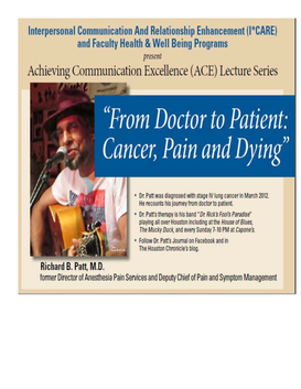 """From Doctor to Patient: Cancer, Pain and Dying"""